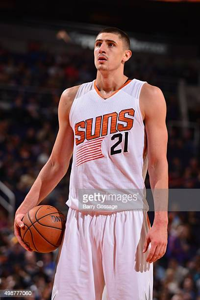 Alex Len of the Phoenix Suns prepares to shoot against the New Orleans Pelicans during the game on November 25 2015 at Talking Stick Resort Arena in...