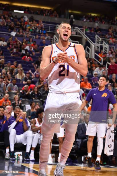Alex Len of the Phoenix Suns reacts to a play during the game against the Chicago Bulls on November 19 2017 at Talking Stick Resort Arena in Phoenix...