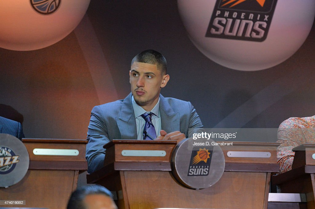 <a gi-track='captionPersonalityLinkClicked' href=/galleries/search?phrase=Alex+Len&family=editorial&specificpeople=8529173 ng-click='$event.stopPropagation()'>Alex Len</a> of the Phoenix Suns represents during the 2015 NBA Draft Lottery on May 19, 2015 at the New York Hilton Midtown in New York City.