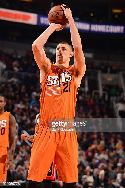Alex Len of the Phoenix Suns shoots a free throw against the Miami Heat on January 8 2016 at Talking Stick Resort Arena in Phoenix Arizona NOTE TO...