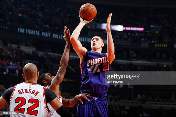 Alex Len of the Phoenix Suns shoots against the Chicago Bulls during the game on December 7 2015 at United Center in Chicago Illinois NOTE TO USER...