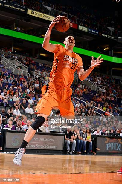 Alex Len of the Phoenix Suns shoots against the Portland Trail Blazers on March 27 2015 at US Airways Center in Phoenix Arizona NOTE TO USER User...