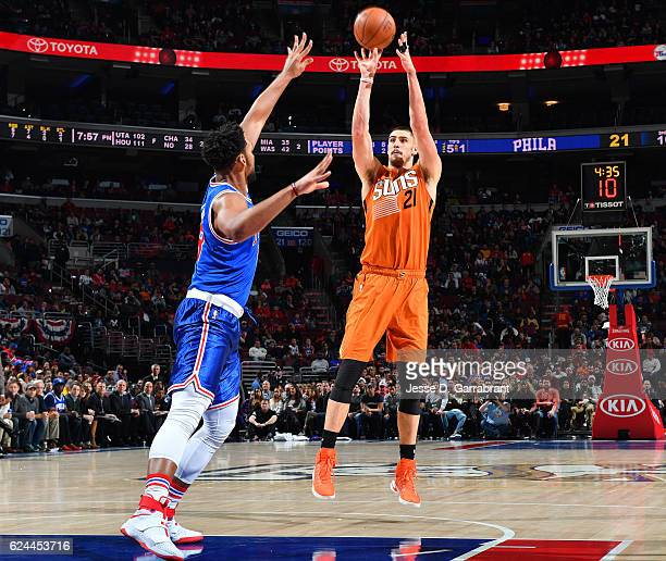 Alex Len of the Phoenix Suns shoots the ball against the Philadelphia 76ers a game at the Wells Fargo Center on November 19 2016 in Philadelphia...
