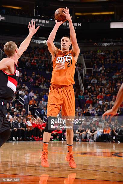 Alex Len of the Phoenix Suns shoots the ball during the game against the Portland Trail Blazers on December 11 2015 at US Airways Center in Phoenix...