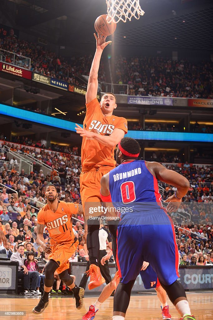 <a gi-track='captionPersonalityLinkClicked' href=/galleries/search?phrase=Alex+Len&family=editorial&specificpeople=8529173 ng-click='$event.stopPropagation()'>Alex Len</a> #21 of the Phoenix Suns takes a shot against the Detroit Pistons on March 21, 2014 at U.S. Airways Center in Phoenix, Arizona.