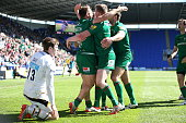 Alex Lewington of London Irish celebrates scoring a try during the Aviva Premiership match between London Irish and London Wasps at Madejski Stadium...