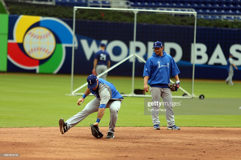 Alex Liddi #16 of Team Italy fields ground balls during the workout day for the 2013 World Baseball Classic on March 11, 2013 at Marlins Park in Miami, Florida.