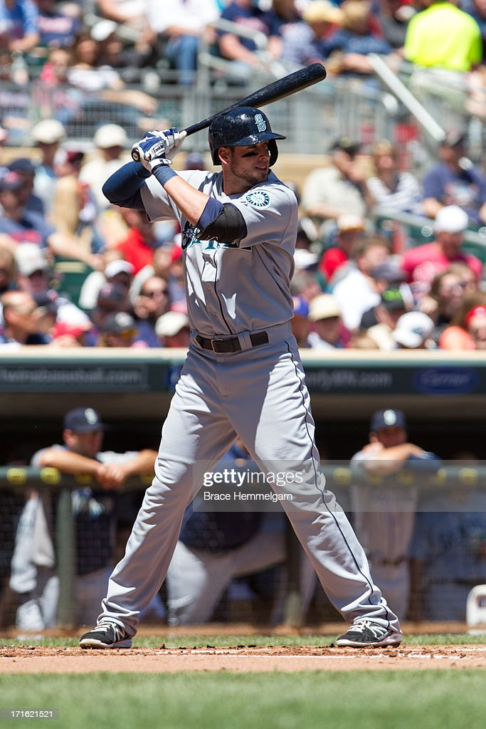 Alex Liddi of the Seattle Mariners bats against the Minnesota Twins on June 2 2013 at Target Field in Minneapolis Minnesota The Twins defeated the...