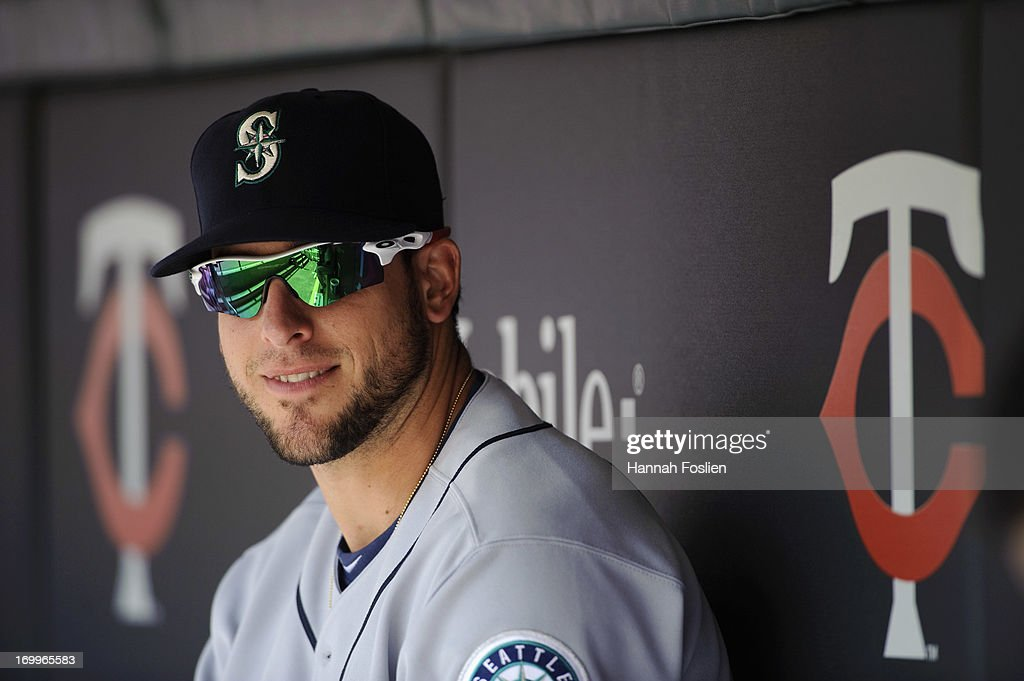 Alex Liddi of the Seattle Mariners looks on before the game against the Minnesota Twins on June 1 2013 at Target Field in Minneapolis Minnesota
