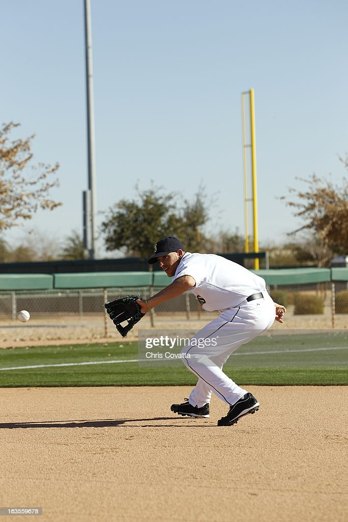 Alex Liddi of the Seattle Mariners poses during a portrait session on February 16 2013 in Glendale Arizona