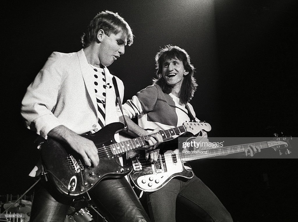 Alex Lifeson and Geddy Lee of Rush perform on stage at Ahoy on 3rd May 1983 in Rotterdam Netherlands