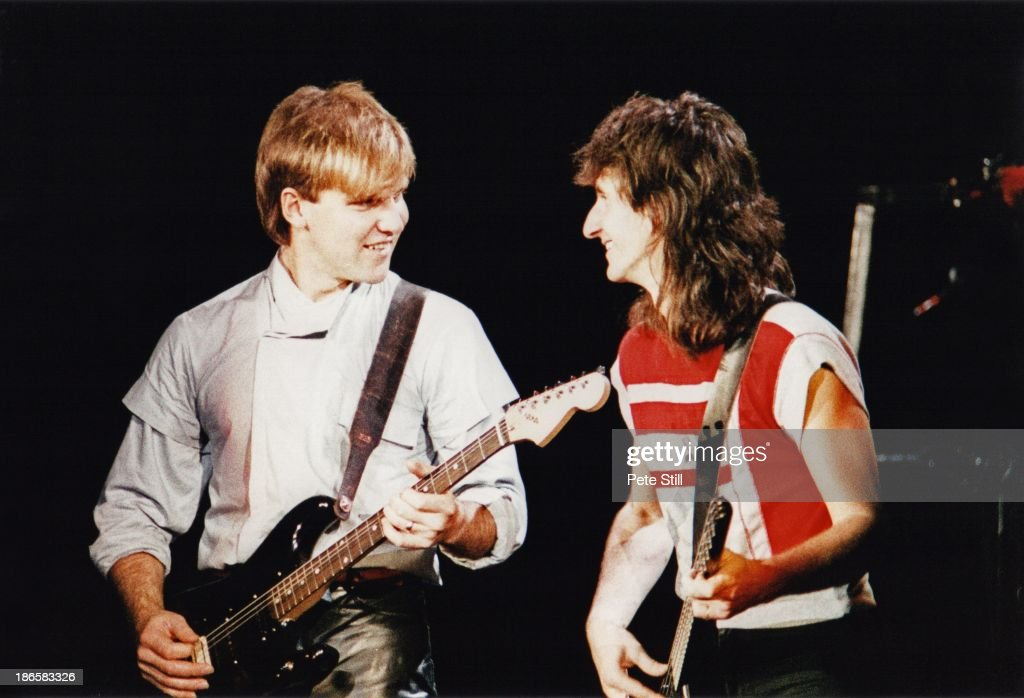 Alex Lifeson and Geddy Lee of Rush perform on stage at Wembley Arena on May 20th 1983 in London England