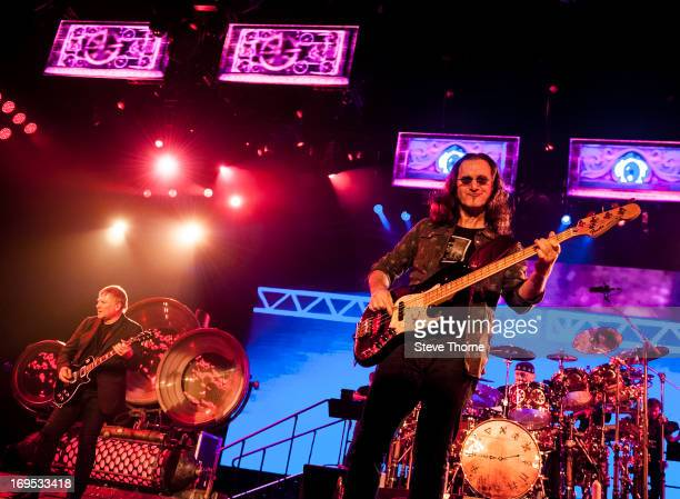 Alex Lifeson Geddy Lee and Neil Peart at LG Arena on May 26 2013 in Birmingham England