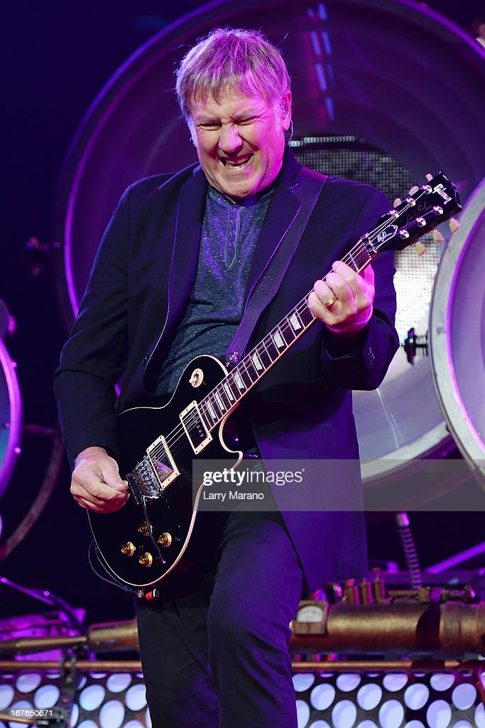 Alex Lifeson of Rush performs at BB&T Center on April 26, 2013 in Sunrise, Florida.