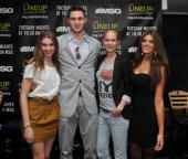 Alex Long Knicks player Danilo Gallinari Sofie Oosterwaal and Mabalia Amberle attend launch party for the MSG Network premiere of 'The Lineup New...