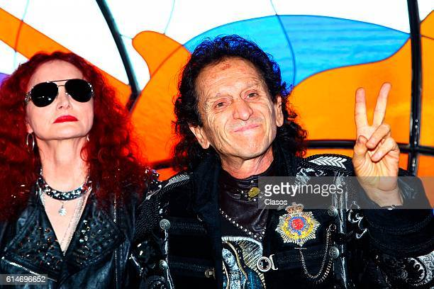Alex Lora and his wife Chela pose during the announcement of the donation of his guitar to the Hard Rock International Hotel chain at 48th birthday...