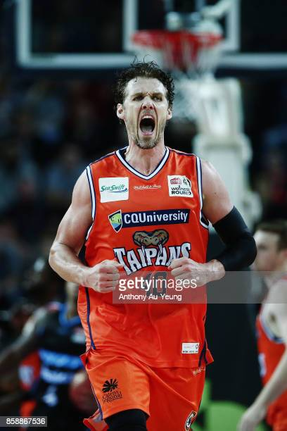 Alex Loughton of the Taipans celebrates a basket down the stretch during the round one NBL match between the New Zealand Breakers and the Cairns...