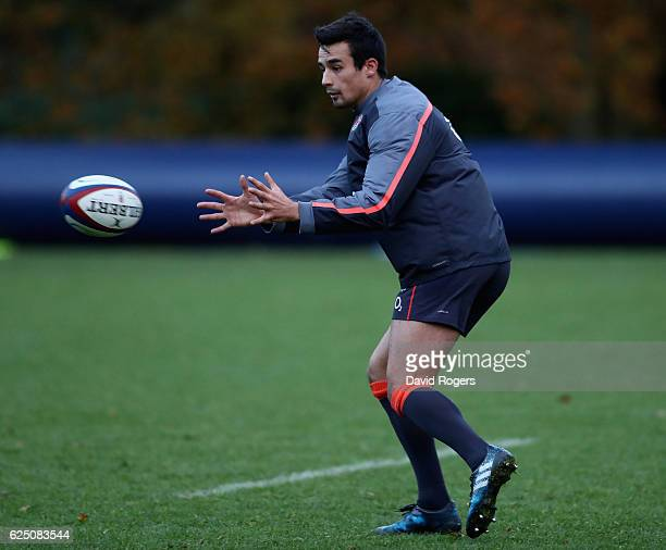 Alex Lozowski catches the ball during the England training session held at Pennyhill Park on November 22 2016 in Bagshot England