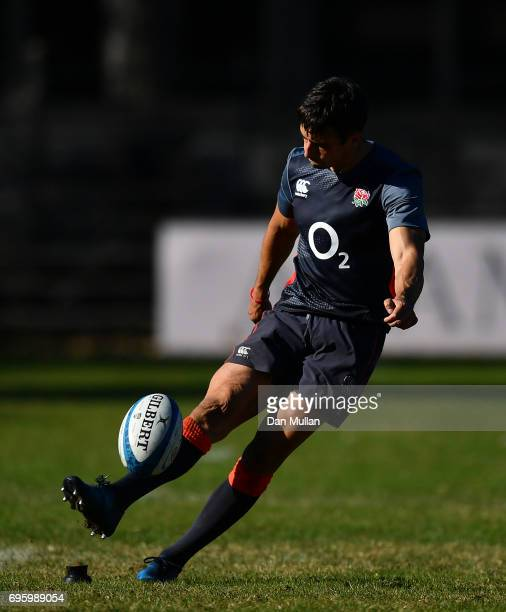 Alex Lozowski of England practices his goal kicking during a training session at San Isidro Club on June 14 2017 in Buenos Aires Distrito Federal