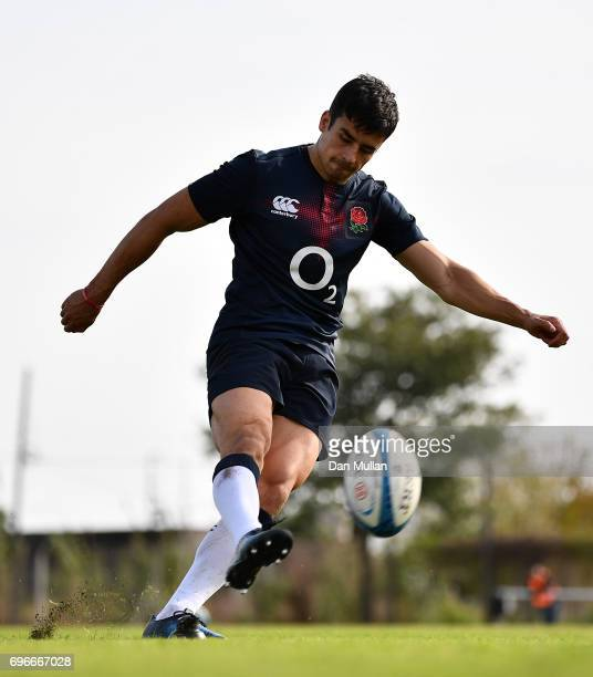 Alex Lozowski of England practices his kicking during a training session at Club Universitario on June 16 2017 in Santa Fe Santa Fe