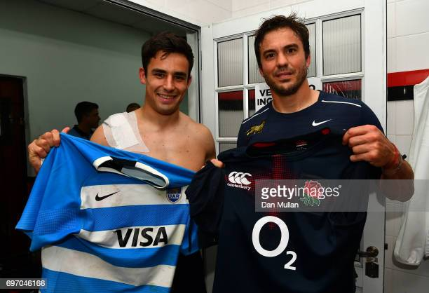 Alex Lozowski of England swops shirts with Jeronimo De la Fuente of Argentina following the ICBC Cup match between Argentina and England at Estadio...