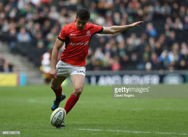 Alex Lozowski of Saracens kicks a penalty during the Aviva Premiership match between Northampton Saints and Saracens at Stadium mk on April 16 2017...