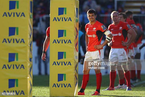 Alex Lozowski of Saracens looks towards the television screen before being sin binned during the Aviva Premiership match between Bath Rugby and...