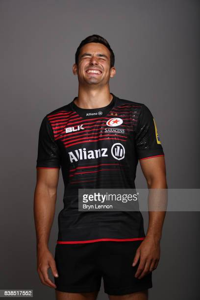 Alex Lozowski of Saracens poses during a photocall at Allianz Park on August 21 2017 in Barnet England
