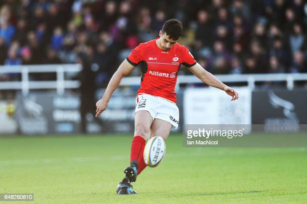 Alex Lozowski of Saracens rkicks a conversion during the Aviva Premiership match between Newcastle Falcons and Saracens at Kingston Park on March 5...