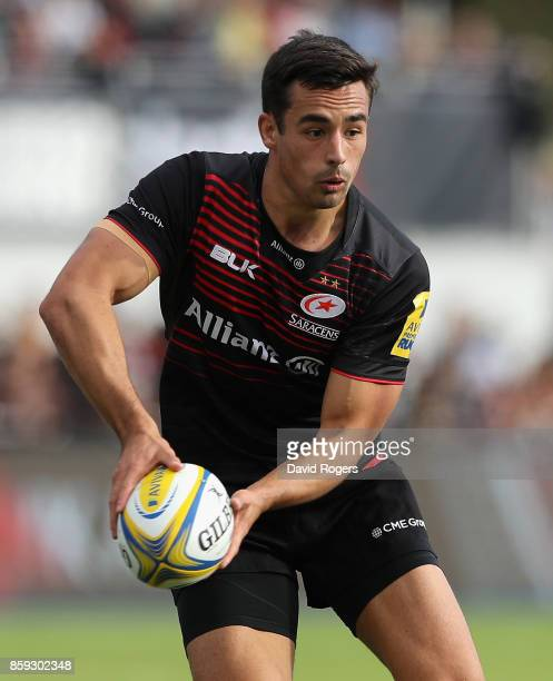 Alex Lozowski of Saracens runs with the ball during the Aviva Premiership match between Saracens and Wasps at Allianz Park on October 8 2017 in...
