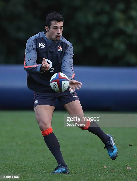 Alex Lozowski passes the ball during the England training session held at Pennyhill Park on November 22 2016 in Bagshot England