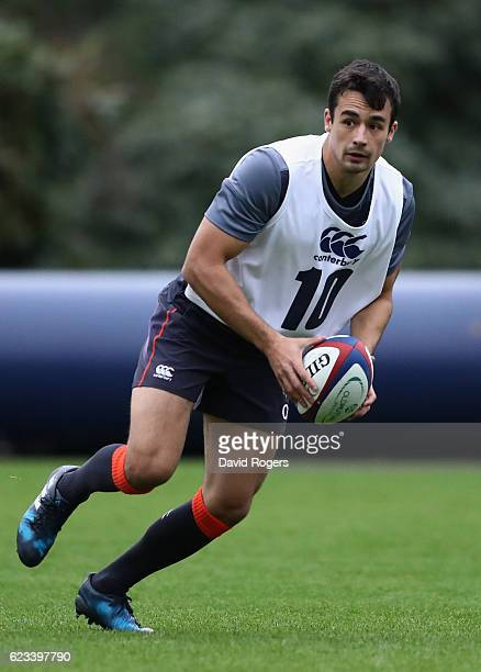 Alex Lozowski runs with the ball during the England training session held at Pennyhill Park on November 15 2016 in Bagshot England