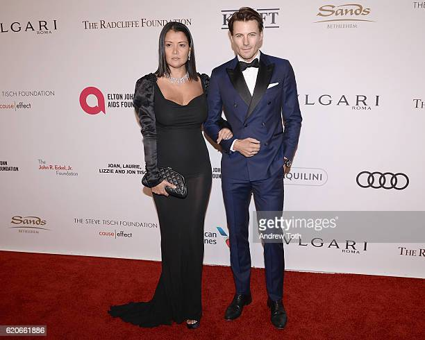 Alex Lundqvist and Keytt Lundqvist attend the 15th Annual Elton John AIDS Foundation An Enduring Vision Benefit at Cipriani Wall Street on November 2...