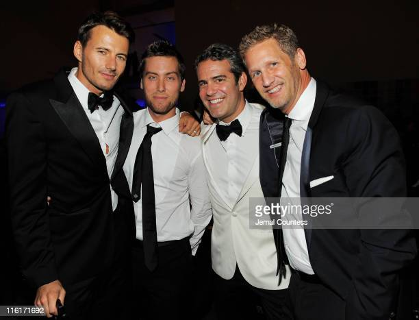 Alex Lundqvist Lance Bass Andy Cohen and Ward Simmons attend the 2nd Annual amfAR Inspiration Gala at The Museum of Modern Art on June 14 2011 in New...