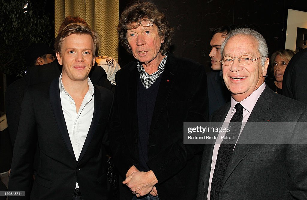 Alex Lutz, Etienne Chatiliez and Bernard Murat attend 'La Petite Maison De Nicole' Inauguration Cocktail at Hotel Fouquet's Barriere on January 21, 2013 in Paris, France.