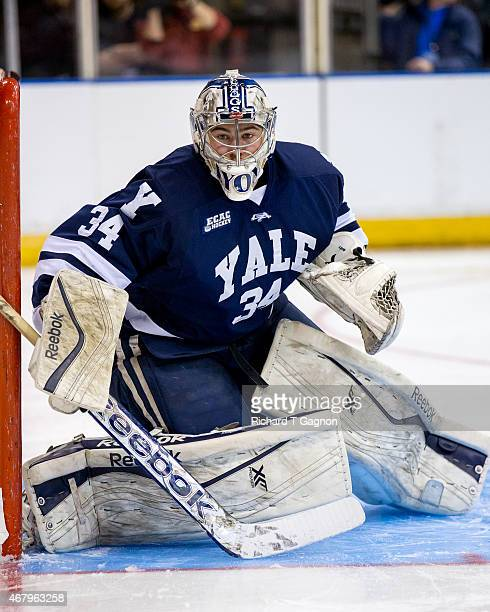 Alex Lyon of the Yale Bulldogs tends goal against the Boston University Terriers during the NCAA Division I Men's Ice Hockey Northeast Regional...