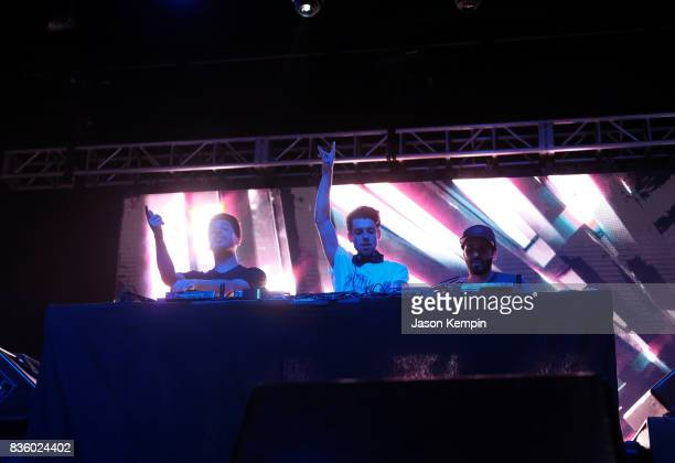 Alex Makhlouf Sam Frisch and Jean Paul Makhlouf of Cash Cash perform during Day Two of 2017 Billboard Hot 100 Festival at Northwell Health at Jones...
