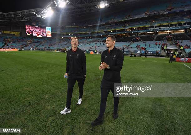 Alex Manninger and Dejan Lovren of Liverpool checks out the pitch before the International Friendly match between Sydney FC and Liverpool FC at ANZ...