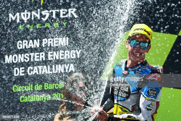 Alex Marquez of Spain and EG 00 Marc VDS celebrates after winning the Moto2 of Catalunya at Circuit de Catalunya on June 11 2017 in Montmelo Spain