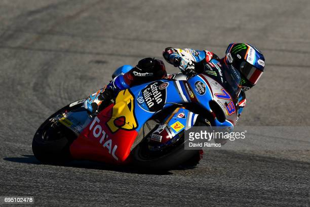 Alex Marquez of Spain and EG 00 Marc VDS during the Moto2 warmup ahead of the Moto2 race at Circuit de Catalunya on June 11 2017 in Montmelo Spain