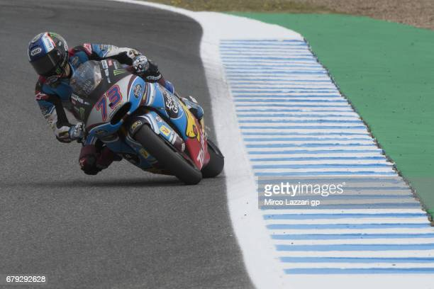 Alex Marquez of Spain and EG 00 Marc VDS heads down a straight during the MotoGp of Spain Free Practice at Circuito de Jerez on May 5 2017 in Jerez...