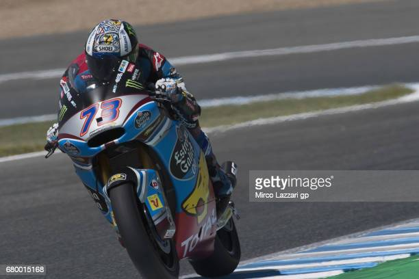 Alex Marquez of Spain and EG 00 Marc VDS heads down a straight during the Moto2 race during the MotoGp of Spain Race at Circuito de Jerez on May 7...