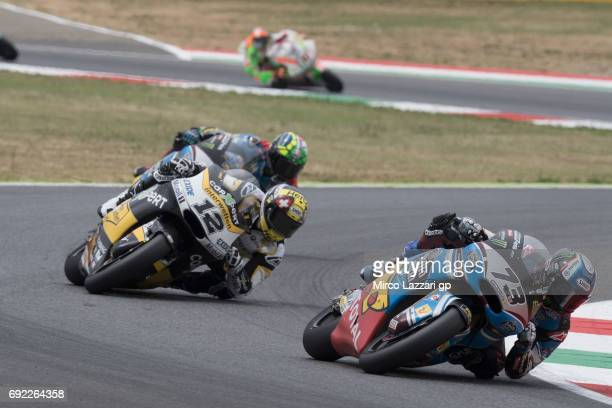 Alex Marquez of Spain and EG 00 Marc VDS leads the field during the Moto2 race during the MotoGp of Italy Race at Mugello Circuit on June 4 2017 in...