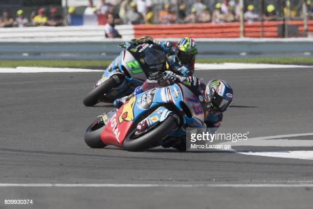 Alex Marquez of Spain and EG 00 Marc VDS leads the field during the Moto2 race during the MotoGp Of Great Britain Race at Silverstone Circuit on...
