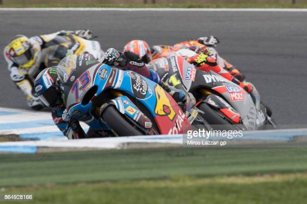 Alex Marquez of Spain and EG 00 Marc VDS leads the field during the Moto2 race during the 2017 MotoGP of Australia at Phillip Island Grand Prix...