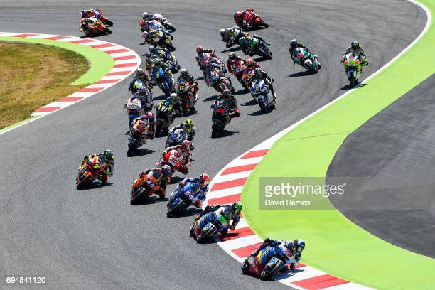 Alex Marquez of Spain and EG 00 Marc VDS leads the race during the Moto2 race at Circuit de Catalunya on June 11 2017 in Montmelo Spain