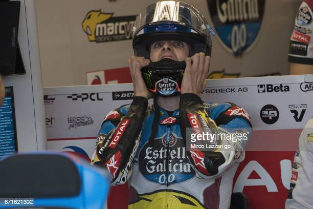 Alex Marquez of Spain and EG 00 Marc VDS prepares to start in box during the MotoGp Red Bull US Grand Prix of The Americas Qualifying at Circuit of...