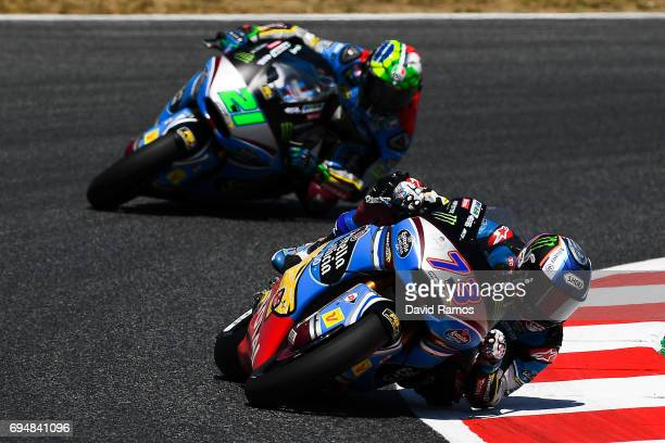 Alex Marquez of Spain and EG 00 Marc VDS rides during the Moto2 race at Circuit de Catalunya on June 11 2017 in Montmelo Spain