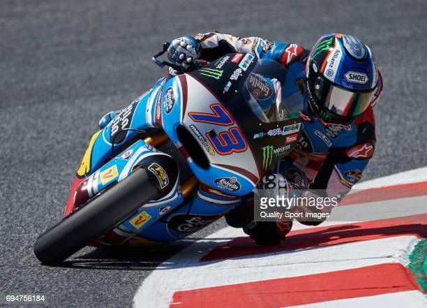 Alex Marquez of Spain and EG 00 Marc VDS rides during the qualifying for the Catalunya Moto 2 Grand Prix at Circuit de Catalunya on June 10 2017 in...