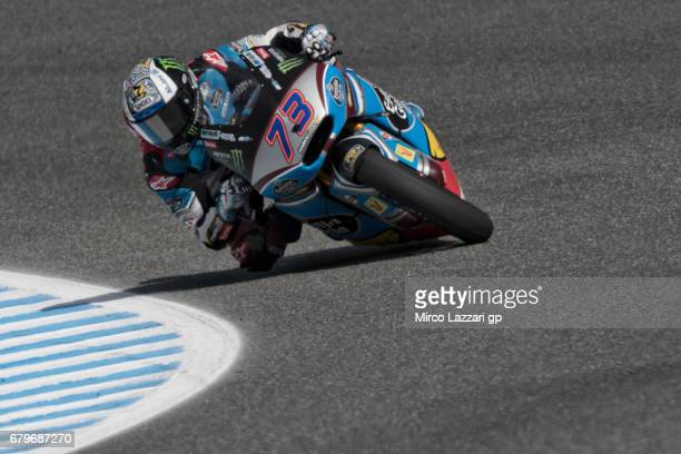 Alex Marquez of Spain and EG 00 Marc VDS rounds the bend during the MotoGp of Spain Qualifying at Circuito de Jerez on May 6 2017 in Jerez de la...